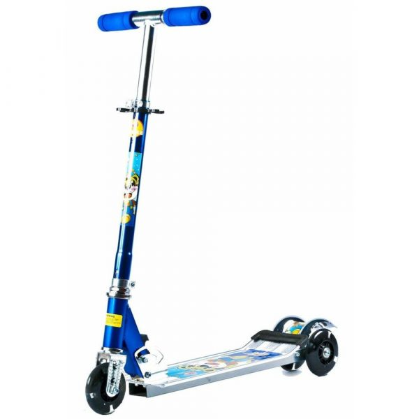 Buy Baybee - Happy 3 Wheeled Folding Metallic Skate Scooter With Light Up And Height Adjusting (Blue)