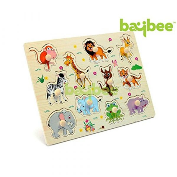 Buy Baybee Wild Premium Wooden Puzzle / Educational Toy with Knobs for Children B (Wild Animals)