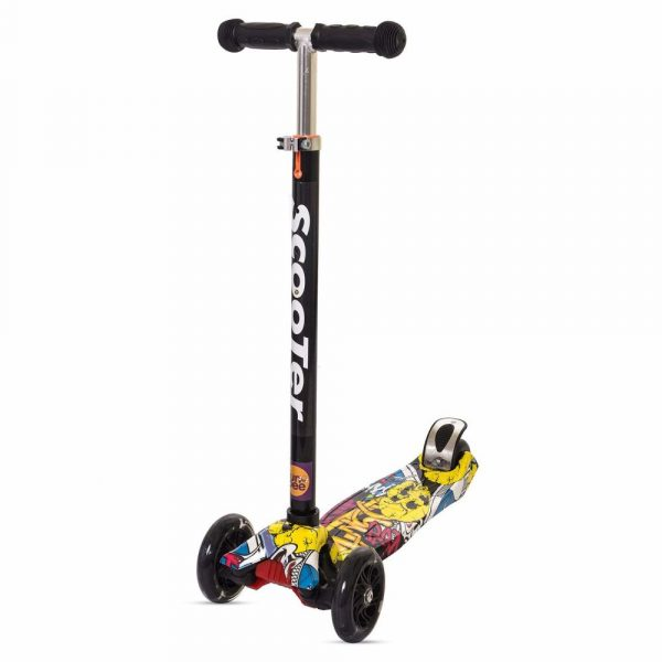 Buy Baybee Funbee Doodle Skate Scooter for Kids 2 Wheel Lean to Steer 3 Adjustable Height with Rear Brake and Suspension | 7 LED Flashing Light up wheels with 75 Kg Weight Capacity - Yellow