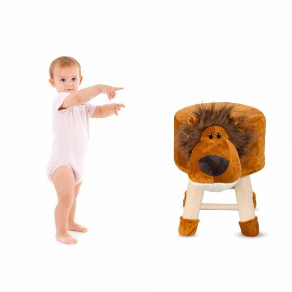 Buy Baybee - Wooden Chair Round Lion Cartoon Animal Chair for Kids and Toddlers | Imagination Inspiring Hand Crafted With Removable Soft Fabric Cover | Round - 4 Legs