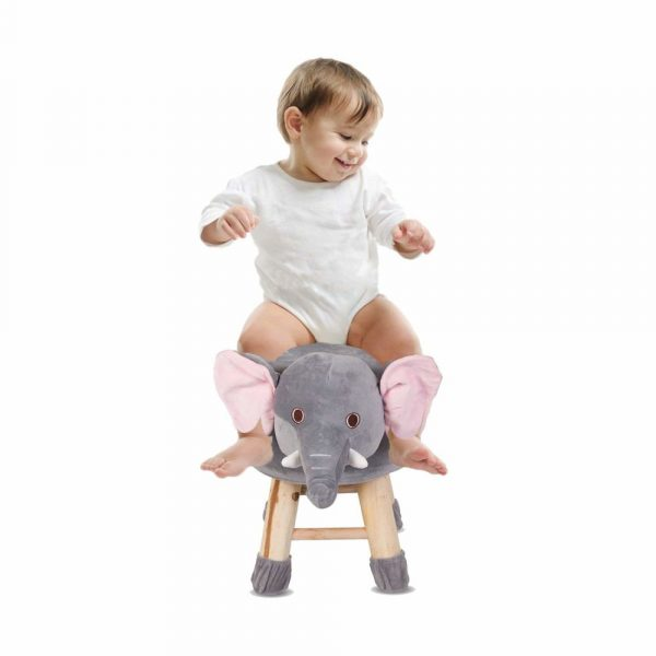 Buy Baybee - Wooden Chair Round Elephant Cartoon Animal Chair for Kids and Toddlers | Imagination Inspiring Hand Crafted With Removable Soft Fabric Cover | Round - 4 Legs - Grey