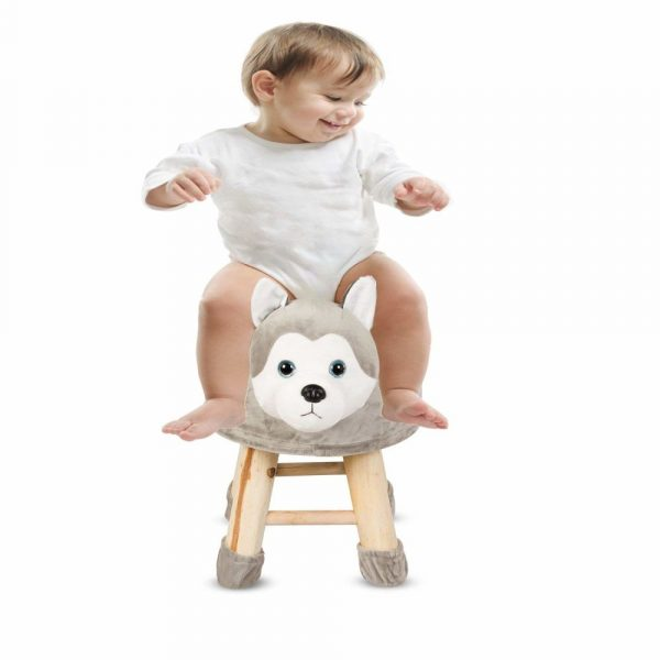 Buy Baybee - Wooden Chair Round Dog Cartoon Animal Chair for Kids and Toddlers | Imagination Inspiring Hand Crafted With Removable Soft Fabric Cover | Round - 4 Legs