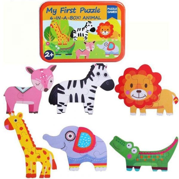 Buy Baybee Premium Wooden Puzzle Games 6-In-A-Box! My First Animal Puzzle Set Of Animal / Metal Box