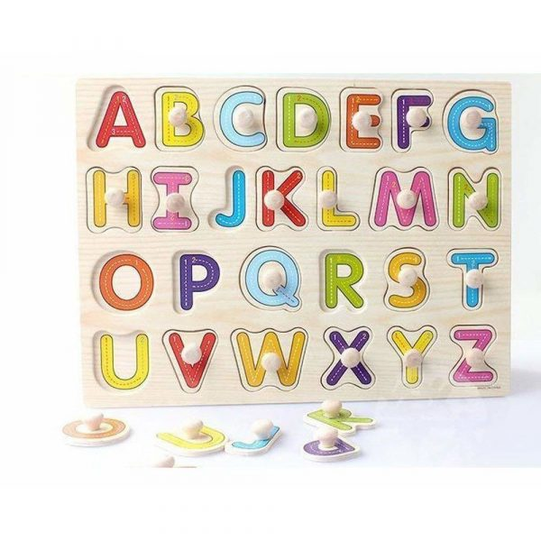 Buy Baybee Wooden Alphabet Puzzle with knobs (Capital letters)