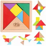 Buy Baybee - MousePotato 7 pc Wooden Tangram Puzzle with tray Brain Development toy