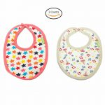 Ultra Soft Material   Comfortable and Adjustable Soft Feeding Bibs for Unisex Pack of 2 Easy to Clean - Assorted Color Set 0 to 12 Months Size