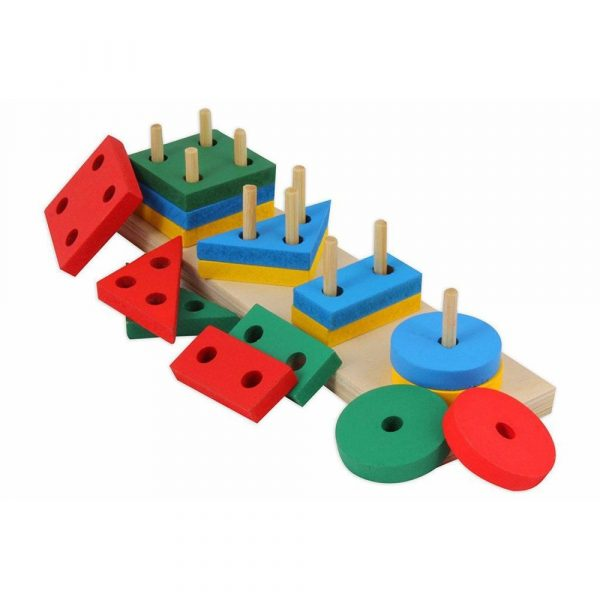 Buy Baybee Wooden Geometric Shape Sorter Puzzle - Multi Color