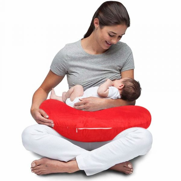 Buy Baybee New Born Velvet Portable Breast Feeding Pillow | Infant Support for Baby and Mom | Best for Breastfeeding Moms - Red