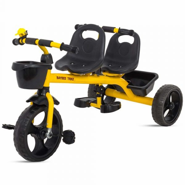 Buy Baybee 2 in 1 Twinker Bell Baby Tricycle Safety Double Seat with Basket - Yellow