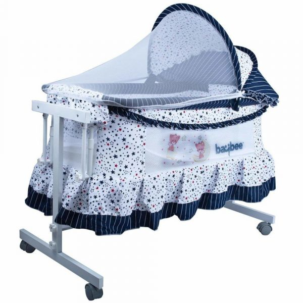 Buy Baybee LittleNest Bassinet Cradle with Mosquito Net-Canopy and Wheels (Multicolour