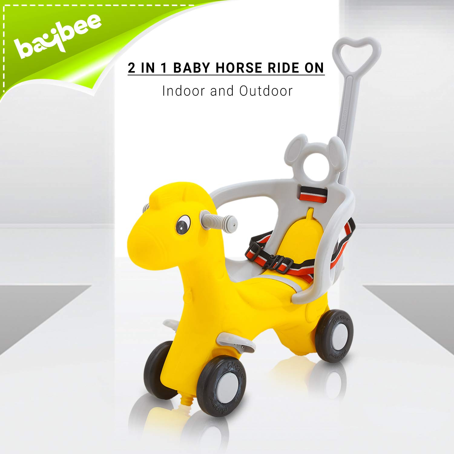 Baybee Baby Horse Rider For Kids Ride On Car With Push Handle Toy Car Babies Toddler Plastic Baby Car Comfortable Seat 1 5 Years Old Child Indoors And Outdoors Kids Suitable For
